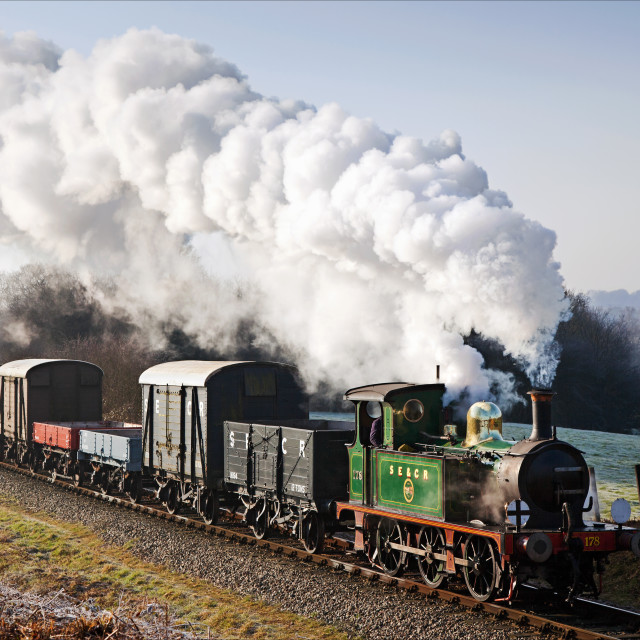 """South Eastern goods train on a frosty morning"" stock image"