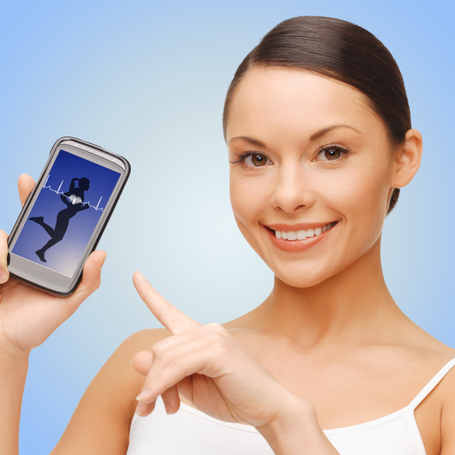 """happy woman showing smartphone blank screen"" stock image"