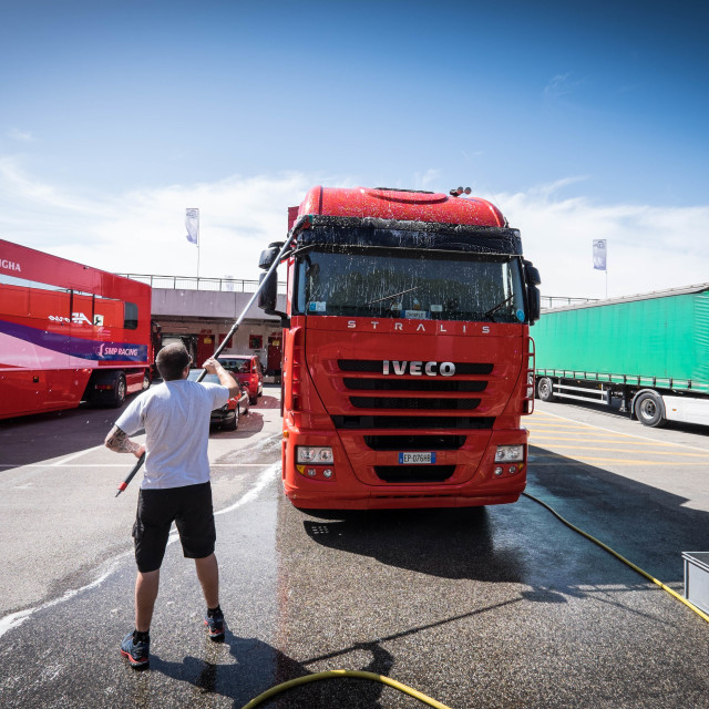 """Race Truck Cleaning"" stock image"