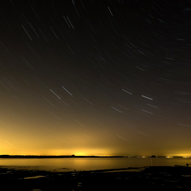 """Belhaven Bay Beach at Night"" stock image"