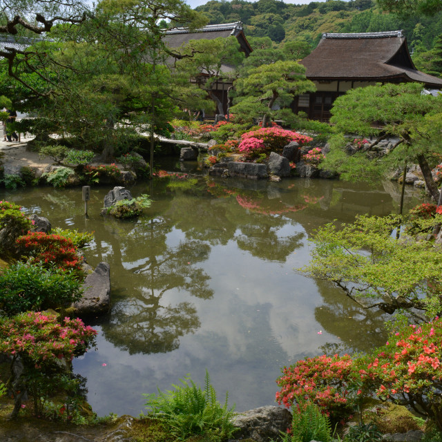 """Gardens inside Ginkaku-ji temple in Kyoto, Japan"" stock image"
