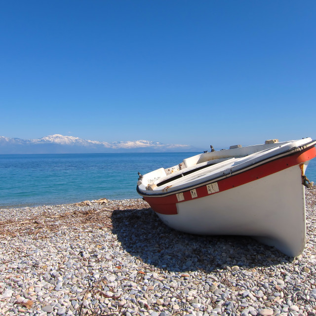 """""""Greece, small rowboat on the beach"""" stock image"""
