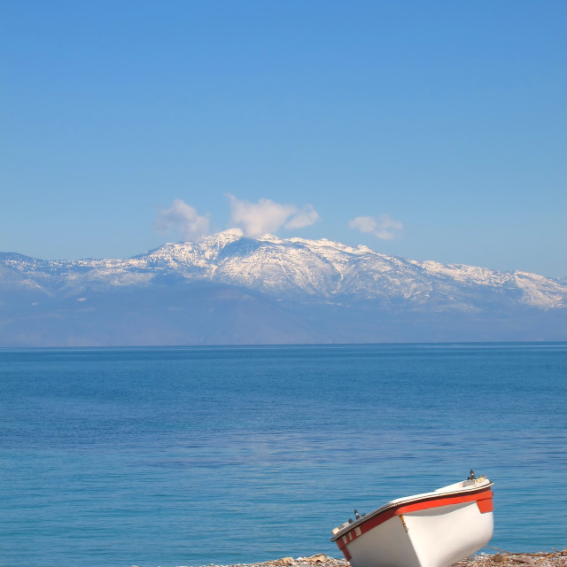 """Greece, small rowboat on the beach"" stock image"