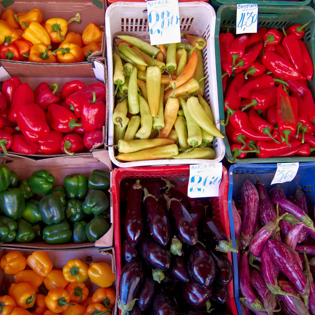 """colorful peppers and eggplants"" stock image"