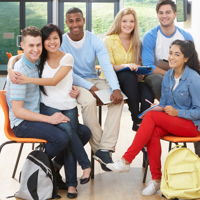 """Multi-Ethnic Group Of Students In Classroom"" stock image"