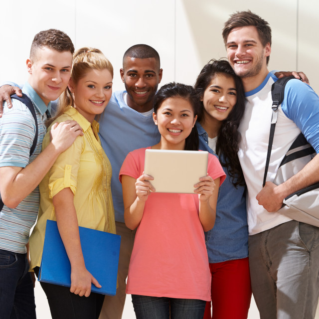 """Portrait Of Multi-Ethnic Group Of Students In Classroom"" stock image"