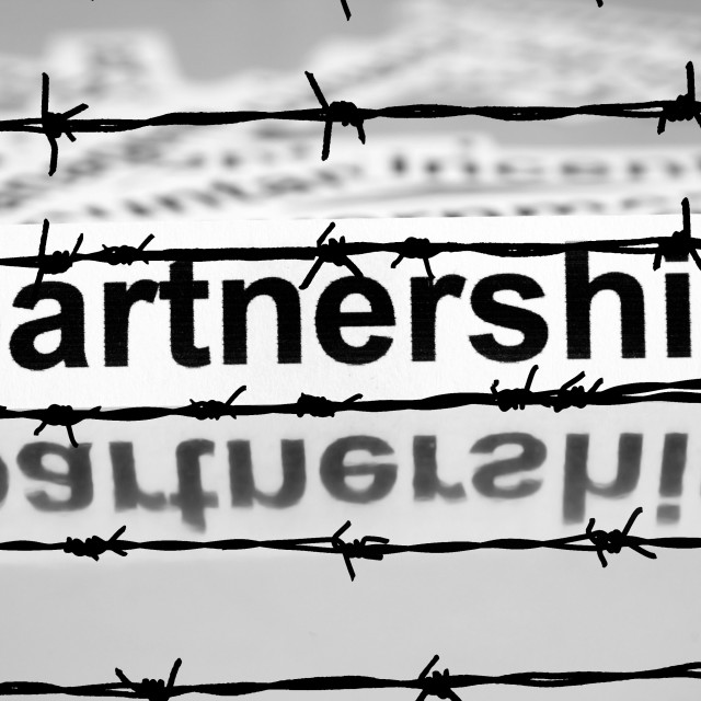 """Partnership nad barbwire concept"" stock image"