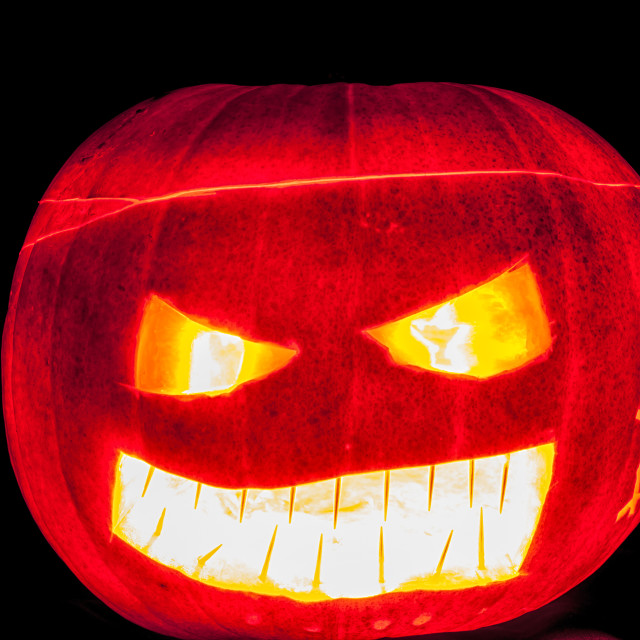 """Glowing Pumpkin head"" stock image"