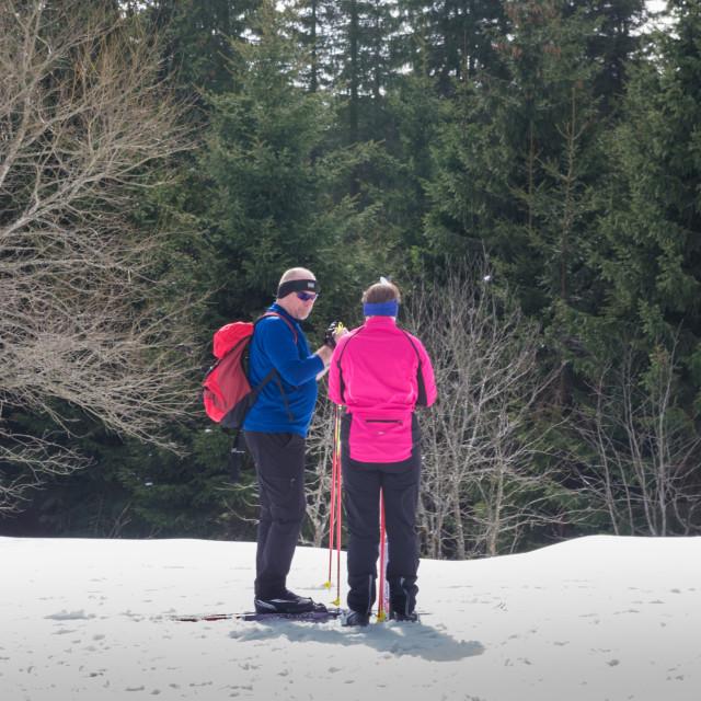 """Bright Skiers"" stock image"