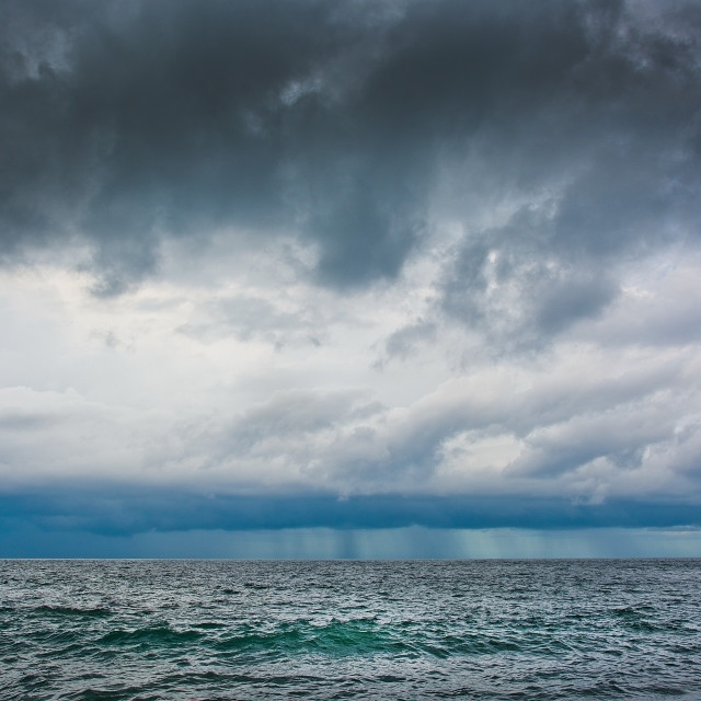 """""""Windy landscape with dark clouds and rainy weather"""" stock image"""