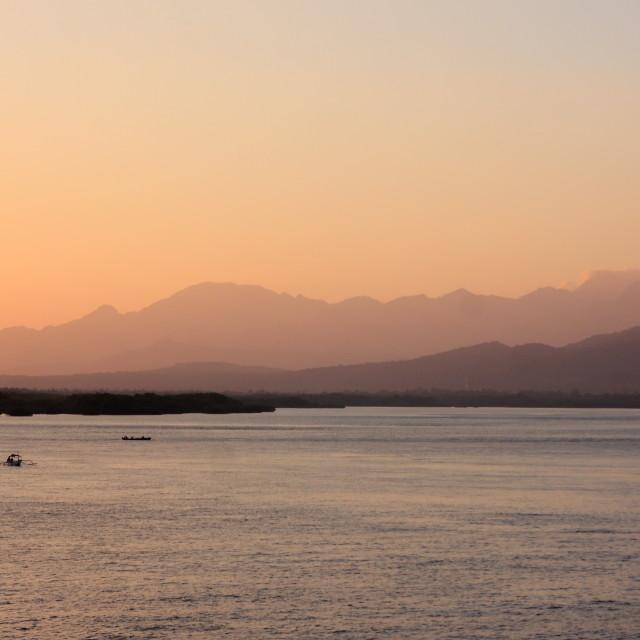 """""""Morning in Bali Strait"""" stock image"""
