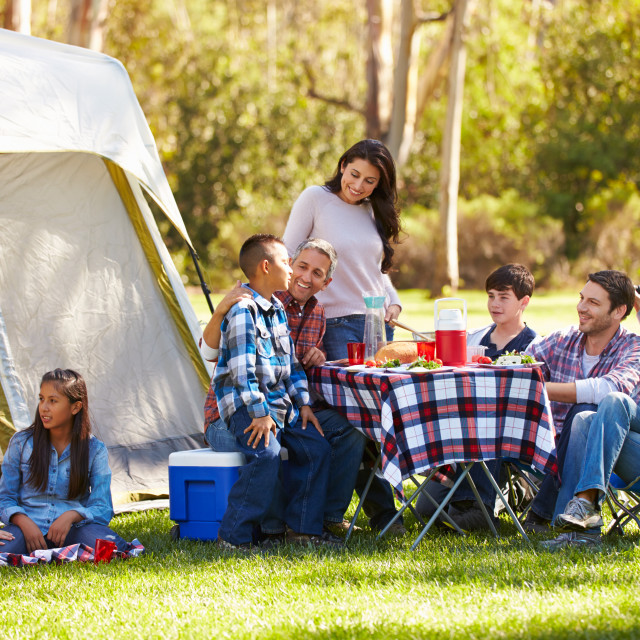 """""""Two Families Enjoying Camping Holiday In Countryside"""" stock image"""