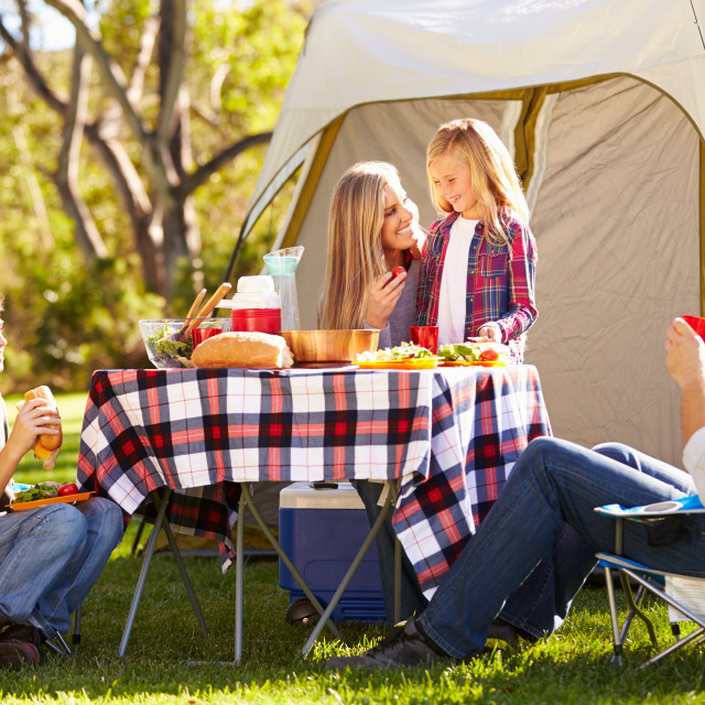 """""""Family Enjoying Camping Holiday In Countryside"""" stock image"""