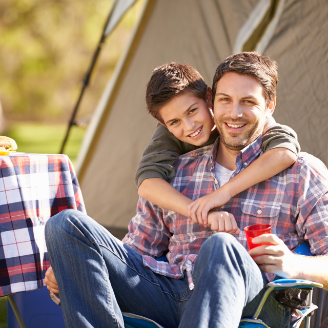 """""""Father And Son Enjoying Camping Holiday In Countryside"""" stock image"""