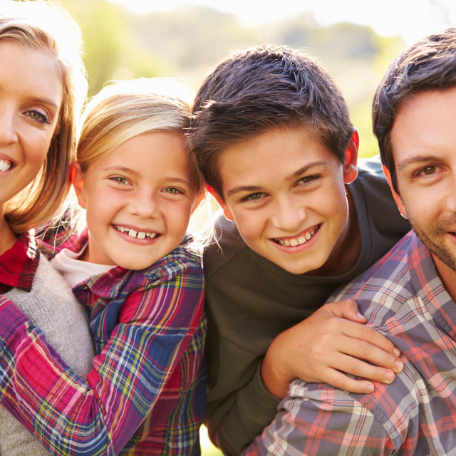 """""""Portrait Of Family In Countryside"""" stock image"""