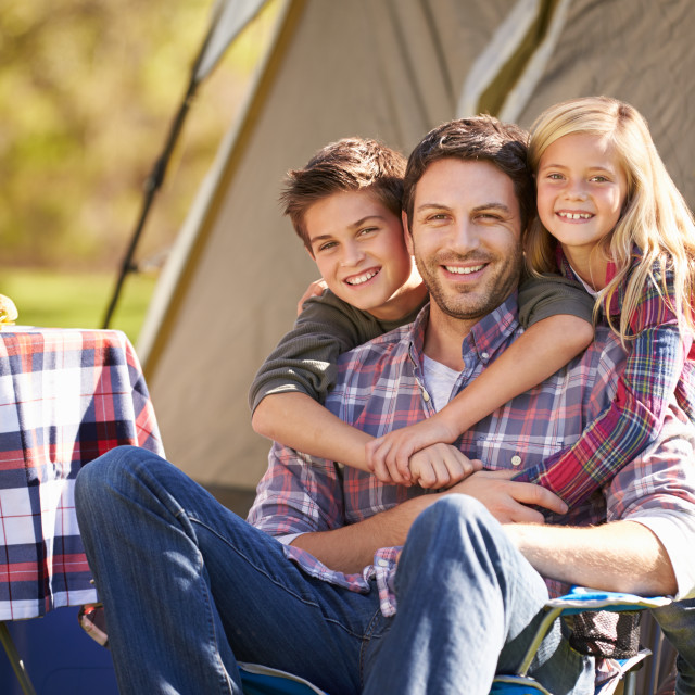 """""""Father And Children Enjoying Camping Holiday In Countryside"""" stock image"""