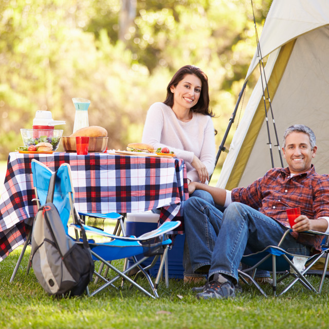 """""""Couple Enjoying Camping Holiday In Countryside"""" stock image"""