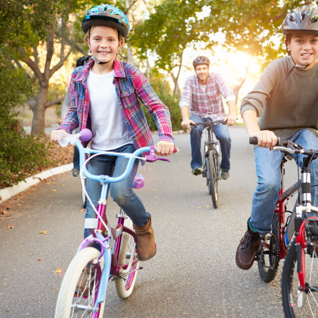"""""""Family On Cycle Ride In Countryside"""" stock image"""