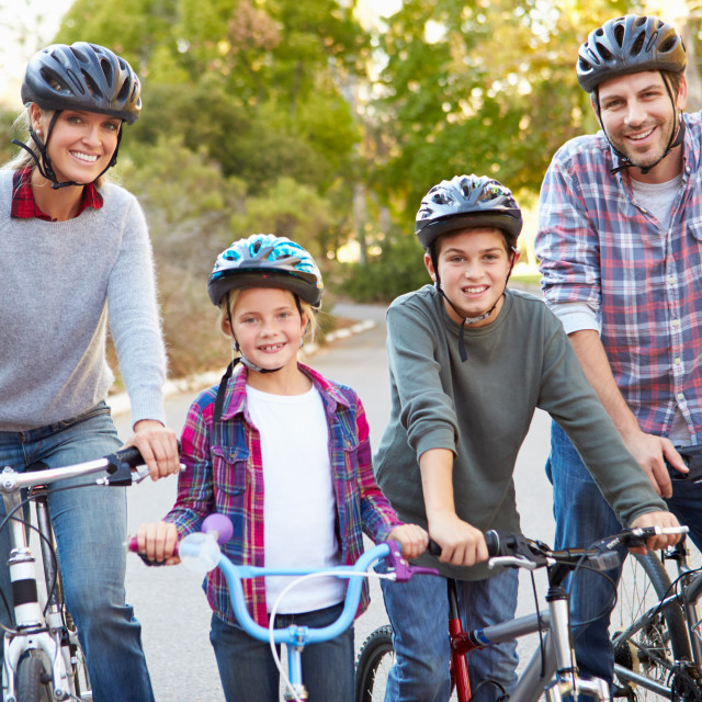 """""""Portrait Of Family On Cycle Ride In Countryside"""" stock image"""