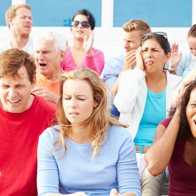 """""""Disappointed Spectators At Outdoor Sports Event"""" stock image"""