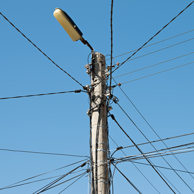 """Electrical wire on pole."" stock image"