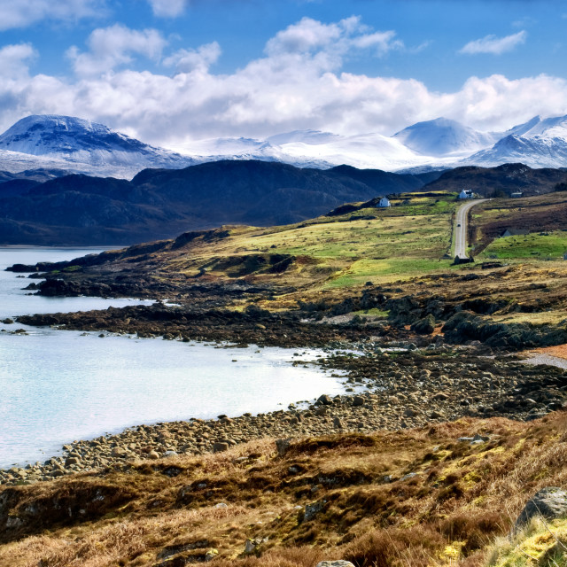 """Coastal view of Gruinard bay, Scotland"" stock image"