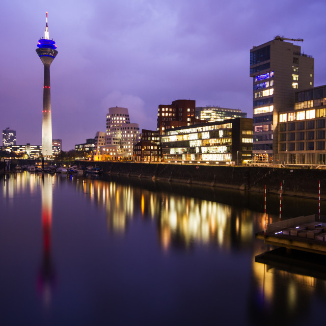 """Rhine Tower after the dusk"" stock image"