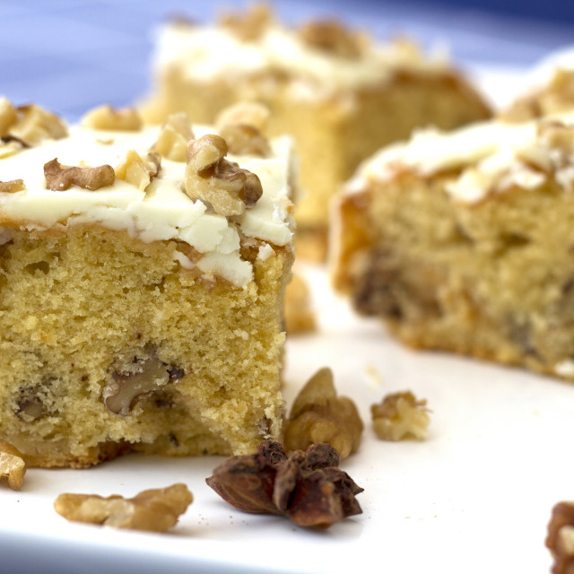 """""""Traybake cake with Nuts"""" stock image"""