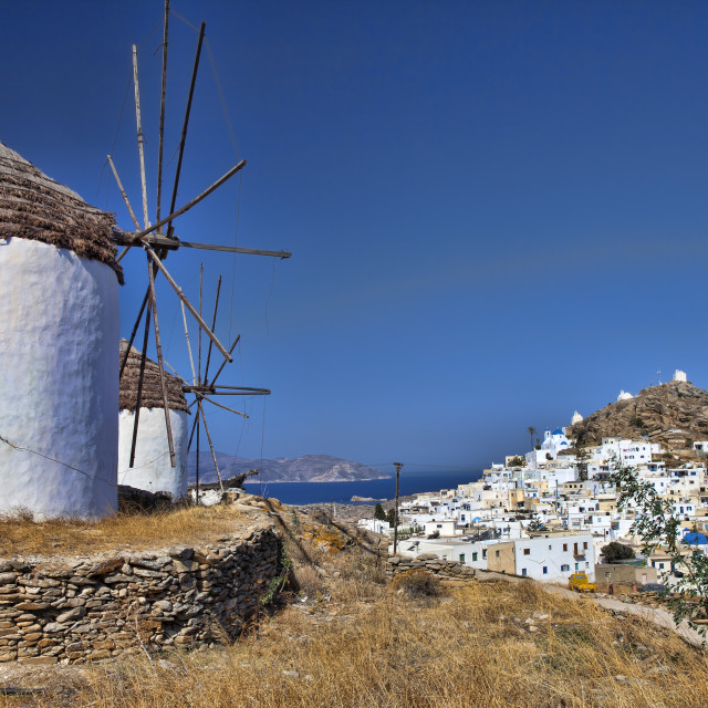 """windmills of Ios island (Greece)"" stock image"