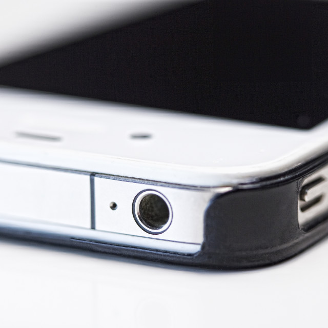 """Closeup of an iPhone 4"" stock image"