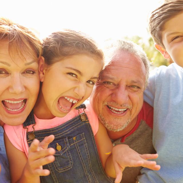 """Portrait Of Grandparents And Grandchildren In Garden"" stock image"