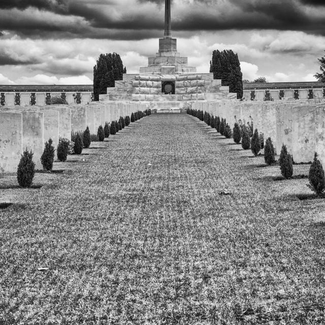 """Memorial cross inside Tyne Cot war cemetery"" stock image"