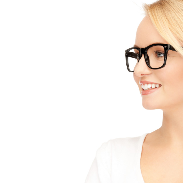 """happy and smiling woman in specs"" stock image"