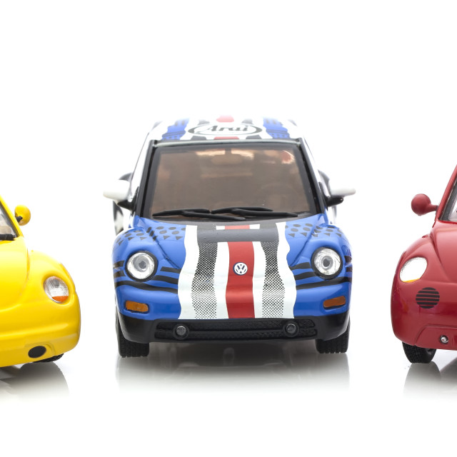 """3 VW Beetle Die cast models on a white background."" stock image"