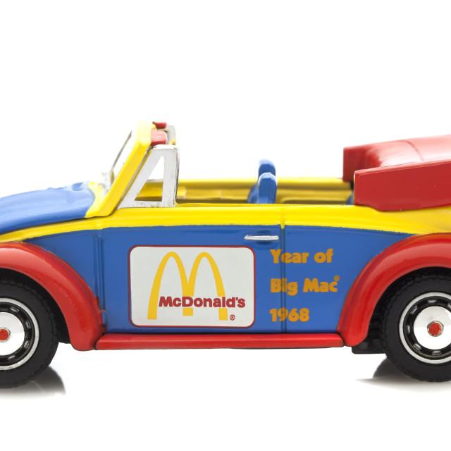 """Corgi VW Beetle in McDonalds Logos"" stock image"