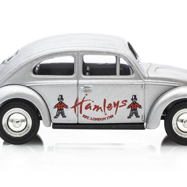 """VW Beetle in Silver with Hamleys Logo"" stock image"