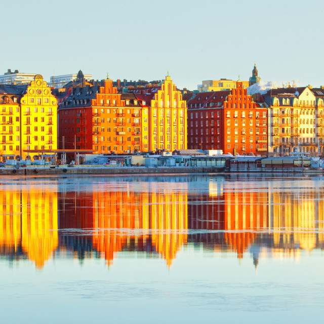"""Sweden Stockholm - Beautiful Houses at Norr Mälarstarnd."" stock image"