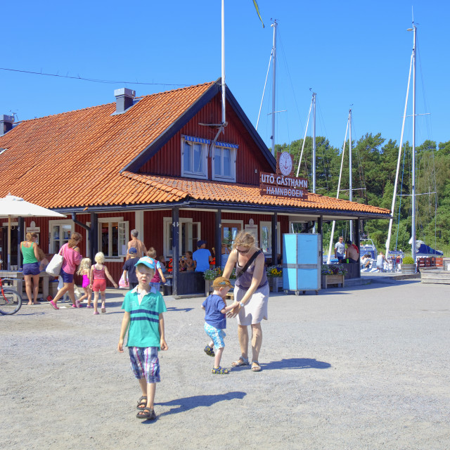 """Sweden, Stockholm - Harbour and shop at Uto, outer archipelago"" stock image"