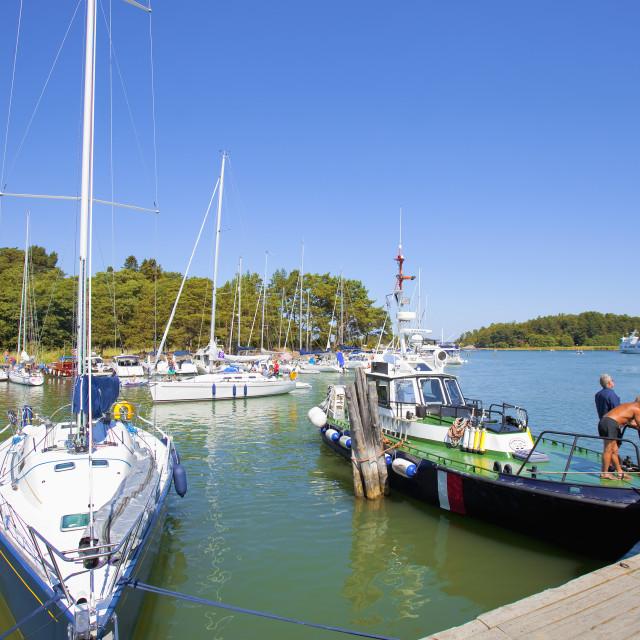 """Sweden, Stockholm - Harbour at Uto, outer archipelago"" stock image"