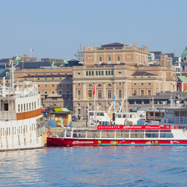 """""""Sweden, Stockholm, The Old Town - Boats moored along the quayside."""" stock image"""