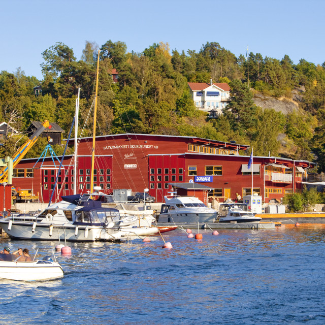 """Sweden, Stockholm Archipelago - Yacht Marina in Skurusund."" stock image"