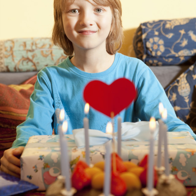 """""""Boy with Blond Hair with his Birthday Cake"""" stock image"""