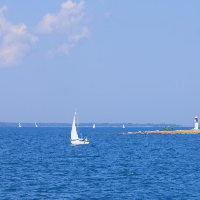 """Stockholm Archipelago - Lighthouse on a tiny island"" stock image"