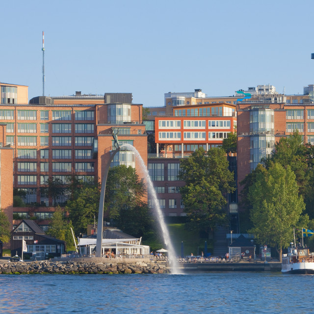"""""""Sweden, Stockholm - Modern offices at Nacka Strand by the sea."""" stock image"""