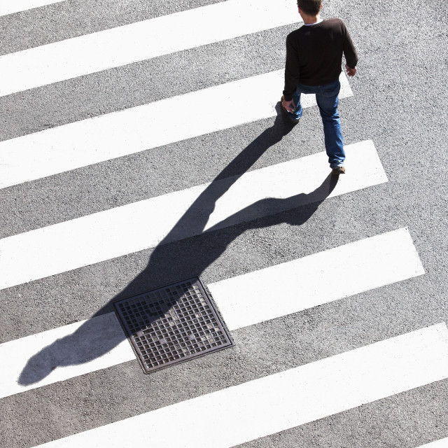 """Pedestrain Crossing the Street on Zebra Crossing."" stock image"