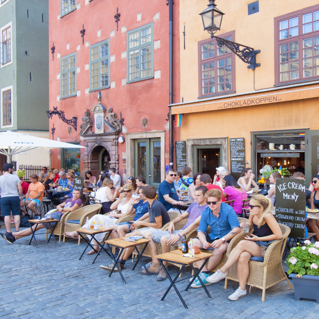 """""""Sweden, Stockholm - People sitting at café in The Old Town."""" stock image"""