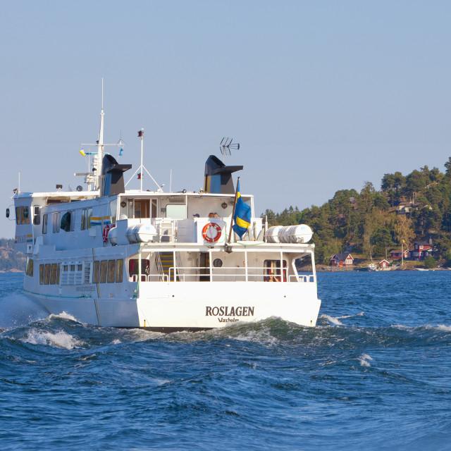 """Sweden, Stockholm Archipelago - Ferry leaving for Archipelago."" stock image"