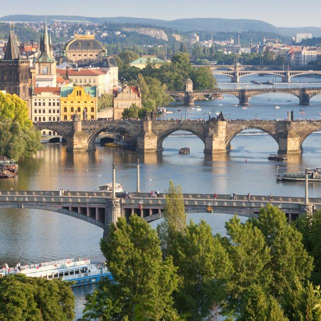 """Czech Republic, Prague - Bridges over Vltava River and Boat Traffic."" stock image"