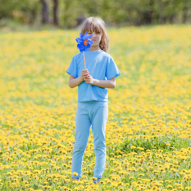 """Boy with Pinwheel in a Meadow of Dandelions"" stock image"