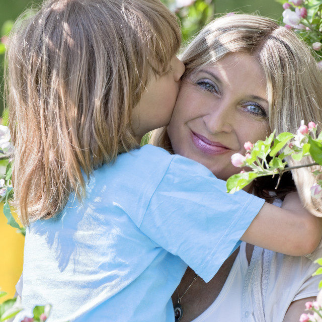 """Boy Embracing his Mother by Blooming Apple Tree in Garden"" stock image"